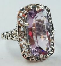 Antique Style Sterling Silver Filigree Ring Rectangle Light Purple Stone Size 9