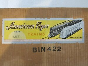 "AMERICAN FLYER ""S"" GAUGE EMPTY SET CARTON No. 521-T CIRCA 1952  FREE SHIPPING!"