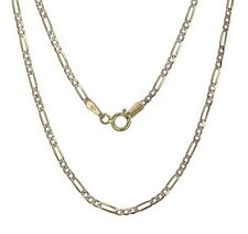 """10k Yellow Gold Figaro with White Pave Chain Necklace 21.5"""" 2.8g 1.7mm"""