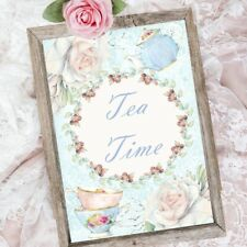 Tea Time Sign, Shabby Chic Tea Party Decoration, Home Decor, Teapot Sign
