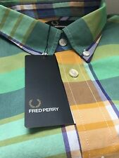 Fred Perry Mens Multi Colour Madras Modernist Check shirt Size L