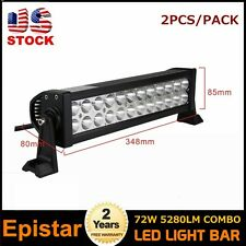 2pcs 14in 72W COMBO Led Light Bar Diving  Lamp Vehicle 4WD Boat SUV ATV 12V 24V