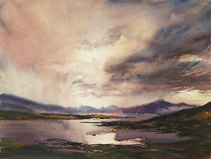 Loch Fannich 15x11in Watercolour Painting by Steven Cronin Original Signed Art