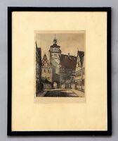 Radierung / Kunstdruck Rothenburg ob der Tauber unleserlich signiert # A-239