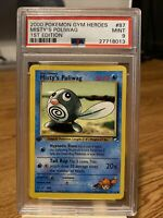 2000 Pokemon Gym Heroes 1st First Ed. Edition #87 Misty's Poliwag PSA 9