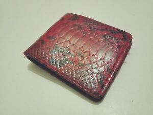 Free Shipping Genuine Python Snakeskin Wallet. Mens Slim Bifold Wallet Red