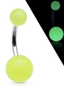 NEW & SEALED - Glow In The Dark Non Dangle Belly Navel Bar Barbell