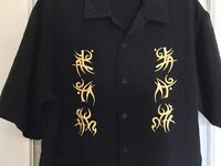DRAGONFLY Clothing CO Black gold LG Short Sleeve Button front Shirt NIKKI SIXX