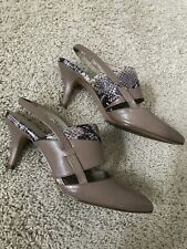 e73a2e9e73 Ellen Tracy Tan Leather Sling Back Pointed Toe Shoes 8.5 M