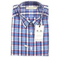RM Williams Mens Hervey Short Sleeve Shirt XL Blue & White Check Plaid