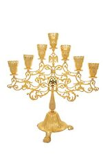 Menorah 7 Candles Church Candlestick Gold-Plated Enamel Byzantine Eagle Design