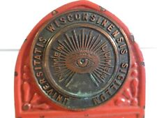 Vintage Antique Universitatis Wisconsinensis Sigillum Lumen Eye CS + C Bookends