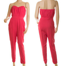 Asos Pink Strapless Fitted Summer Retro Jumpsuit Romper Pleasted Bust Sz 6 38