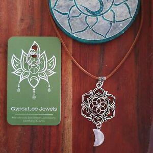 Moon Stone Rose Quartz Lotus Flower Crystal Pendant Necklace GypsyLee Jewels