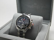 MICHELE TAHITIAN MWW12E000004 WOMENS BLACK AND SILVER CHRONOGRAPH WATCH