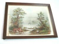 Antique RAYMOND Litho Art Print Country Lake Mountain Cattle Boat 22x18 Framed