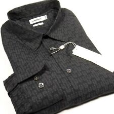 J. Lindeberg Men's Printed L/S Shirt Slim-Fit (Fitted) Lead Gray Size XL New