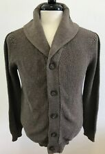 The Knitwear Lab Brown Shawl 3D Stitch Thermolite Mens Cardigan Sweater Size M