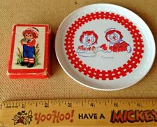 Vintage Raggedy Ann & Andy Bobbs Merrill Plastic Plate + Hallmark Playing Cards!