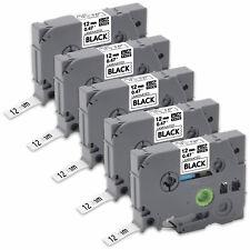5PK TZ-231 TZe-231 12mm Black /White Label Tape for Brother P-Touch PT-1010 D600