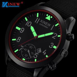 Mens Military Quartz Army Watch Date Nylon Strap Analog Dial Sports Wrist Watch