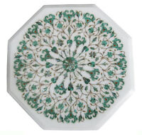 "18"" Marble Coffee Table Top Malachite Floral Inlay Art Home Decor & Gifts"