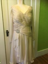 Champagne Evening Formal Dress, Sheer Sleeves, 16W Prom, Bridesmaid, Izilady