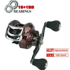 7.2:1 18+1BB 10KG Metal Baitcasting Fishing Reel Magnetic Brake CNC Spool Left/R