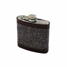 Haute qualité marron HARRIS TWEED en acier inoxydable 6 oz (environ 170.09 g) Hip Flasque avec Entonnoir Set