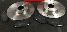 FOR FIAT 500 LOUNGE SPORT 1.2 1.3D BRAKE DISCS CROSS DRILLED MINTEX BRAKE PAD