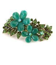 New fashion antique crystal rhinestone green flower hair barrette clip ha63081