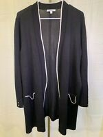 1X Womens Black and White Cardigan Designer Look Trendy Preppy 89th Madison