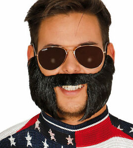 Lemmy Style Stick On Beard & Moustache Fancy Dress Mutton Chops Sideburns Tash