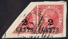 BRITISH HONDURAS 1888 2c on 1c Carmine BISECTED on PIECE. USED. SG37a.
