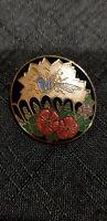 Vintage Cloisonne Enamel Bird Floral Brooch Pin Signed Fish Black Gold Multi