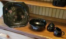 Mikasa Ebony Meadow DR701 5 Pc Hostess Set: Platter, Serving Bowl, Sugar Creamer