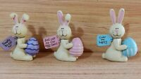 """New Spring Easter Bunny Rabbit w/eggs Figurine Set of 3   Home Decoration 3"""""""