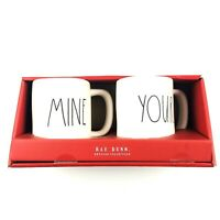 Rae Dunn Magenta Ivory Farmhouse LL MINE YOURS Coffee Tea Beverage Mug Cup Set