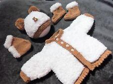 NB hand knit white tan jacket mitten hat boots set 4 baby / reborn / teddy bear
