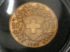 BU/UNC 1927-B Swiss GOLD 20 FRANC Switzerland Helvetia AGW .1867 troy oz.  #39