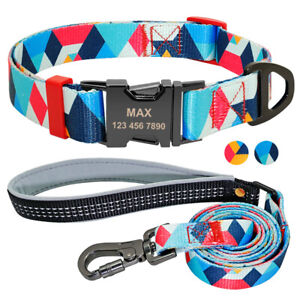 Heavy Duty Personalized Dog Collar and Matching Leash Engraved Metal Buckle S-L