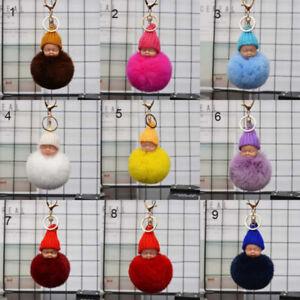 10pcs Fur Fluffy Sleeping Baby Doll Key Chains Keyrings Bag Charm Pendant