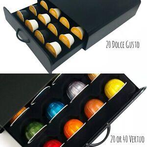 20 Dolce Gusto 20/40 Nespresso Vertuo Coffee Pod Capsules Storage Drawer