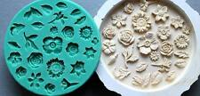 Silicone Mould SMALL FLOWERS WITH LEAVES Cake Decorating Fondant / fimo mold