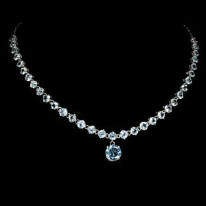 Round Sky Blue Topaz 10mm 14K White Gold Plate 925 Sterling Silver Necklace 20