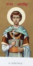 SAINT DEMETRIUS - VINTAGE HOLY PRAYER BOOK CARD -DEVOTIONAL  CHURCH ALTAR CENSER