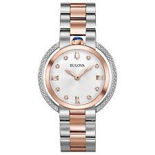Bulova Rubaiyat Women's Quartz Diamond Accent Sapphire Crystal 35mm Watch 98R247