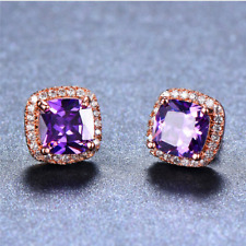 4 ct Halo Cushion Halo Purple Amethyst Womens Stud Earrings 14K Rose Gold Over