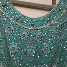 Hong Kong sparkly chemise sleeveless top turquoise beading sequins pearls