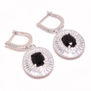 "Brazilian Black Onyx, White Topaz 925 Sterling Silver Earring 1.44"" S2689"